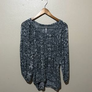 Free people grey floral top size small